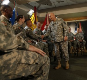 Fort Hood hosts Odierno for fourth virtual town hall Army Chief of Staff Gen. Ray Odierno greets 22 Soldiers before a virtual town hall on Fort Hood, Texas, April 2, 2015.
