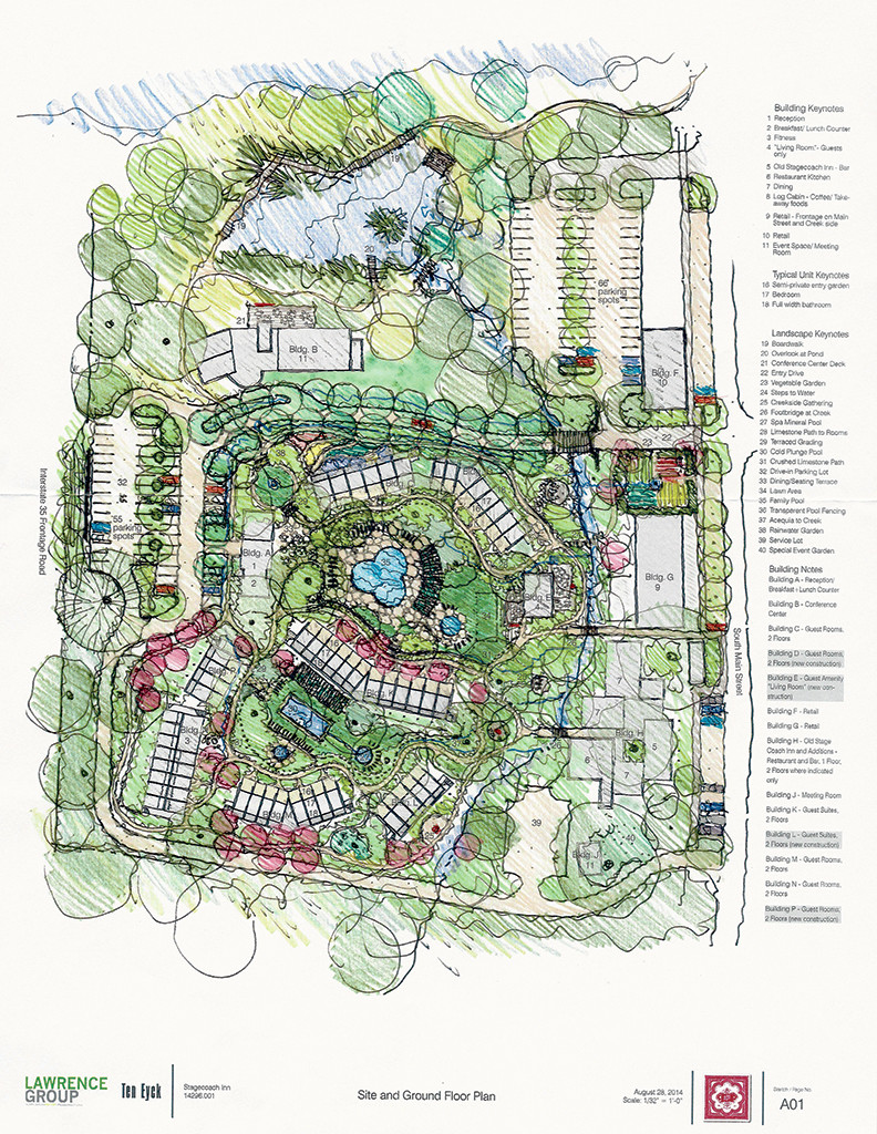 A rendering of the changes to the grounds of the Stagecoach Inn restaurant and hotel complex. Work will begin soon on the top-to-bottom renovations and expansion.