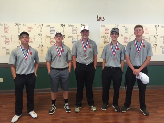 Salado Eagles Golf Team:  L to R: Aaron Torczynski, Trey Schaub, Josh Peschel, Caleb Schwertner, Bryan Lightfoot