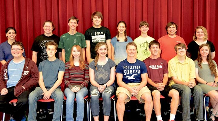 Salado HS UIL academic state qualifiers for 2016 (Front row, from left) Spelling: Keegan Menn, Orrin Kimbrough, Katie Kendall, Kayla Manning; Number Sense: Trey Sheppard, Peyton Kyburz, Jeremy Cannon, and Morgan Bird (Morgan also qualified in Calculator Applications). (Back row, from left) Journalism: Molly Rodeffer, Ellie Bragg; LD Debate: Tim Lane; Current Issues and Events: Luke Miller, Cassidy Brown, Austyn Giacomozzi, Nathaniel Sunshine, and Sydney Jarvis