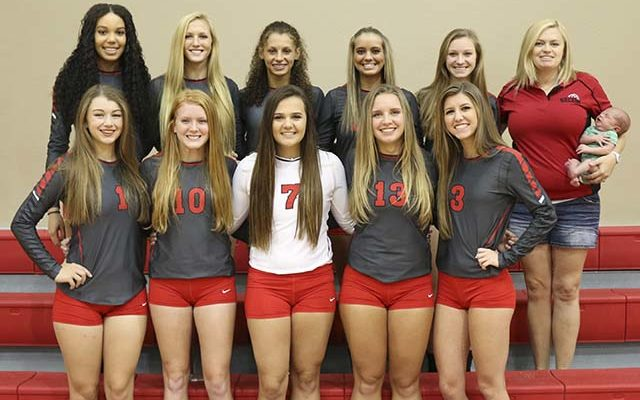 2016 Varsity Lady Eagles Volleyball Front Row, from left: #1 Jamie Rich, #10 Mikaela Heiner, #7 Kerrigan Hearne, #13 Brettney Fuller, #3 Natalie Fort; Back row, from left:  #6 Mariah Vaillancourt, #4 Victoria DeKay, #2 Brianna Washington, #24 Lindy Martin, #9 Katie Robinson, Head Coach Heather Shannon and baby boy Elliott Shannon.