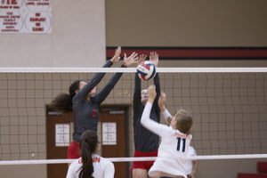 Brianna Washington and Natalie Fort block a shot by a Leander Glenn player. Photo by Royce Wiggin.