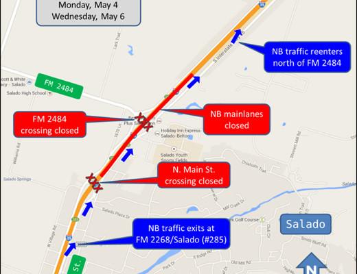 Salado I-35 Mainlane Closures on May 4, 5 and 6