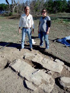 (Photo courtesy Dr. Douglas B. Willingham) Archeologists and students from Baylor University excavated the foundation of the old water well at the Salado College during a day of study and work at the Salado College Ruins on March 3, 2012. Shown above are Bryan Jameson, president of the Texas Archeological Society, and Marie Archambeault, archeologist with Texas Historical Commission. The Robertson Colony-Salado College Foundation has reinvigorated the idea of the College Hill becoming a public park with historical and archeological points of interest.