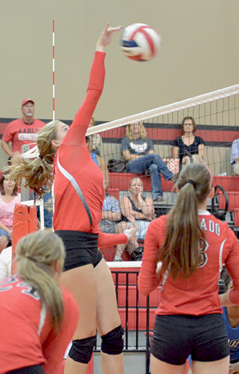 Payton Dreitz kills the ball for Salado. Photo by Ron LeGuin