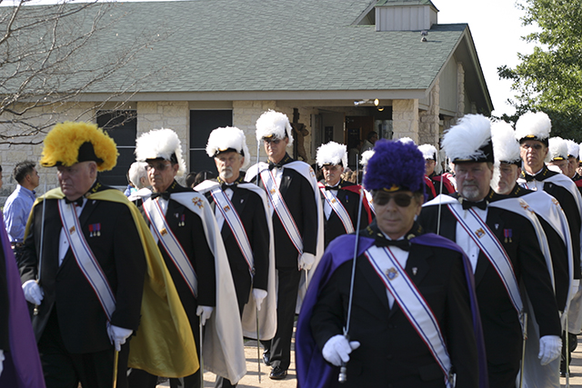 Members of the Knights of Columbus led the procession from the old St. Stephen chapel to the new one. (Photo by Tim Fleischer)