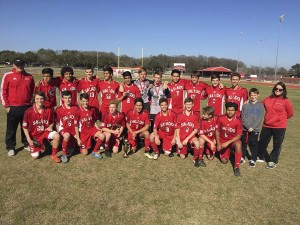 Salado Eagles are Champions of the Eagle Classic Soccer Tournament. Pictured above are (front row, from left): Caleb Chambliss, John Dawson, Luke Markham, Scout Puckett, Manuel Magadan, Jack Spradlin, Josh Lesley, Seth Hill, Manuel Tonches; (back row, from left) Coach Michael Goos, Daniel Magadan, Alex Carmona, Camden LaCanne, Armando Castillo, Brandon Rodriguez, Niko Lowrance, Trey Sheppard, Cristian Martinez, Costas Loullis, Ryan Cook, Kaden Smien, Cooper Chambliss, Assistant Coach Karen Ewton. (Courtesy photo)