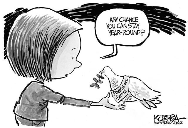 "Jeff Koterba cartoon for December 25, 2015 ""Christmas Dove Peace"""