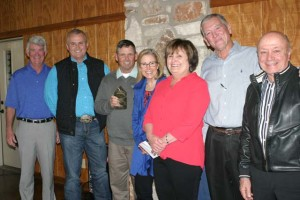(Photos by Royce Wiggin) Mill Creek Country Club was named the 2015 Business of the Year during the Jan. 28 Salado Chamber of Commerce awards banquet. Shown above are (from left) Len Mewhinney, Robert Ray, Billy Helm, Vickie Helm, presenter Rita Zbrankek, Ricky Preston and Dr. Armando Lenis.