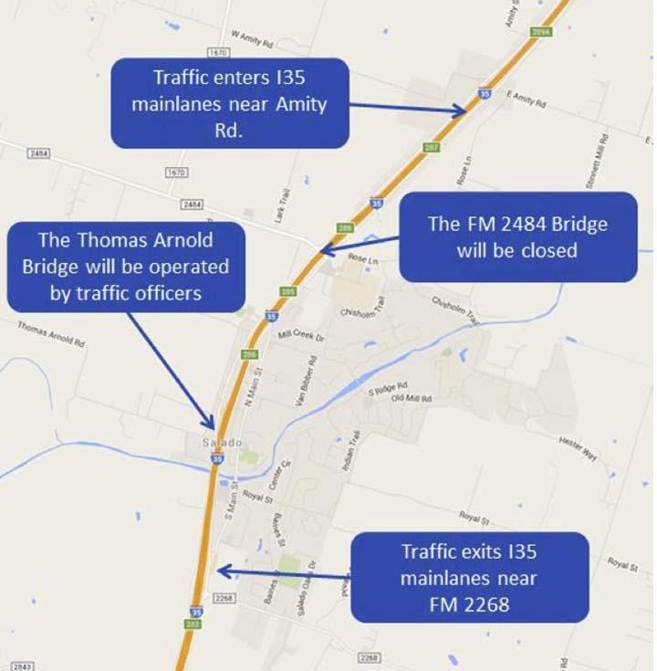 Overnight mainlane I-35 closure through Salado