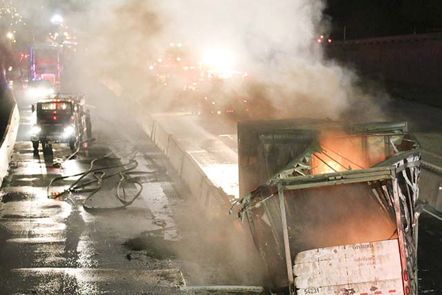 Fedex truck crash shuts down I-35 at Thomas Arnold