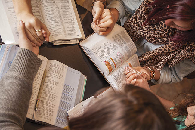 Community Bible study signing up for Christian Leadership series