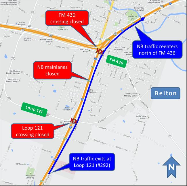 I-35 mainlane closing in Belton